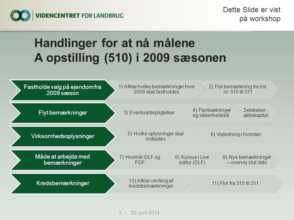 Handlinger for at nå målene A opstilling (510) i 2009 sæsonen Fastholde valg på ejendom fra 2009 sæson 1) Afklar hvilke bemærkninger hvor 2009 skal fastholdes 2) Flyt bemærkning fra bst.