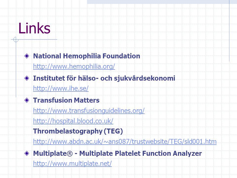 Links National Hemophilia Foundation http://www.hemophilia.org/ http://www.hemophilia.org/ Institutet för hälso- och sjukvårdsekonomi http://www.ihe.se/ http://www.ihe.se/ Transfusion Matters http://www.transfusionguidelines.org/ http://hospital.blood.co.uk/ Thrombelastography (TEG) http://www.abdn.ac.uk/~ans087/trustwebsite/TEG/sld001.htm http://www.transfusionguidelines.org/ http://hospital.blood.co.uk/ http://www.abdn.ac.uk/~ans087/trustwebsite/TEG/sld001.htm Multiplate® - Multiplate Platelet Function Analyzer http://www.multiplate.net/ http://www.multiplate.net/