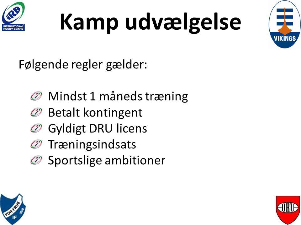 Kamp udvælgelse Følgende regler gælder: Mindst 1 måneds træning Betalt kontingent Gyldigt DRU licens Træningsindsats Sportslige ambitioner