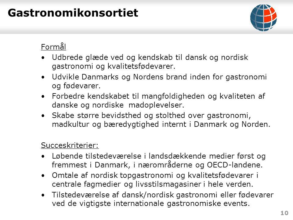 10 Gastronomikonsortiet Formål •Udbrede glæde ved og kendskab til dansk og nordisk gastronomi og kvalitetsfødevarer.