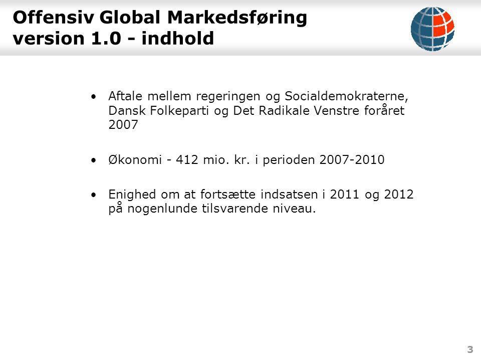3 Offensiv Global Markedsføring version 1.0 - indhold •Aftale mellem regeringen og Socialdemokraterne, Dansk Folkeparti og Det Radikale Venstre foråret 2007 •Økonomi - 412 mio.