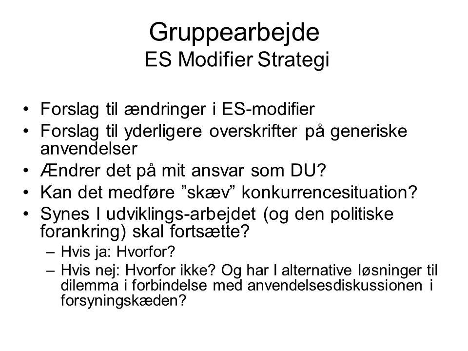 Gruppearbejde ES Modifier Strategi •Forslag til ændringer i ES-modifier •Forslag til yderligere overskrifter på generiske anvendelser •Ændrer det på mit ansvar som DU.