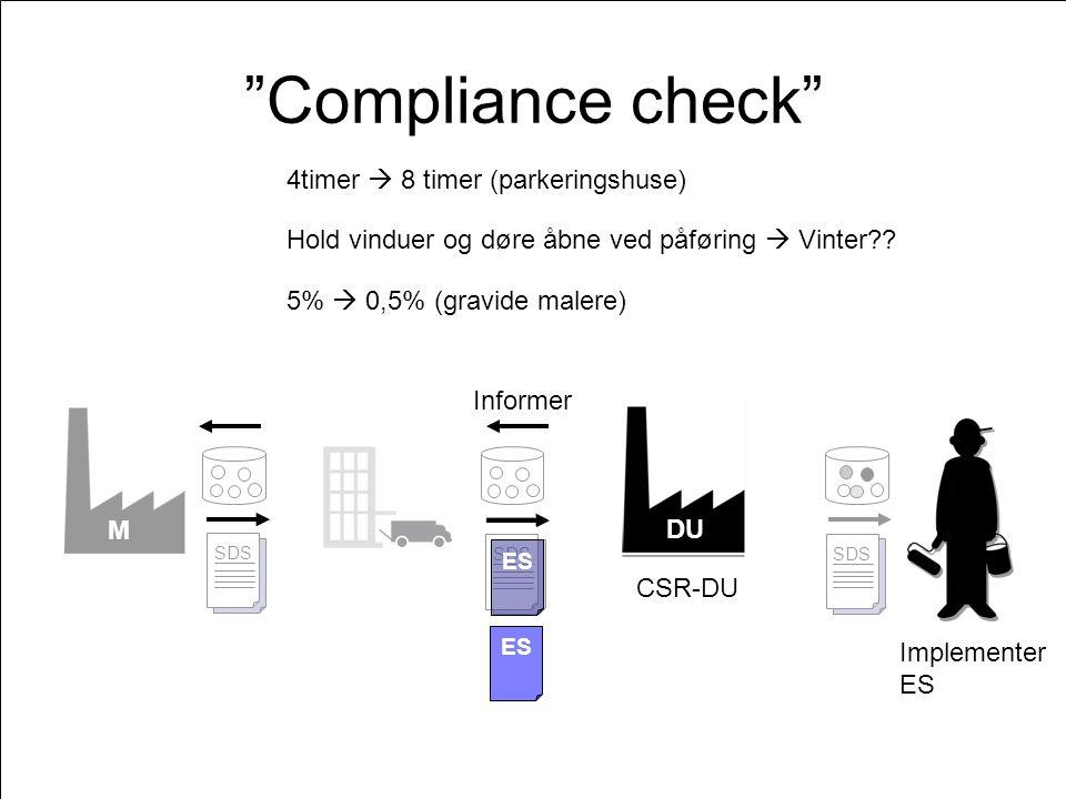 M ES SDS ES SDS ES SDS DU Compliance check ES DU Implementer ES CSR-DU Informer ES Hold vinduer og døre åbne ved påføring  Vinter .
