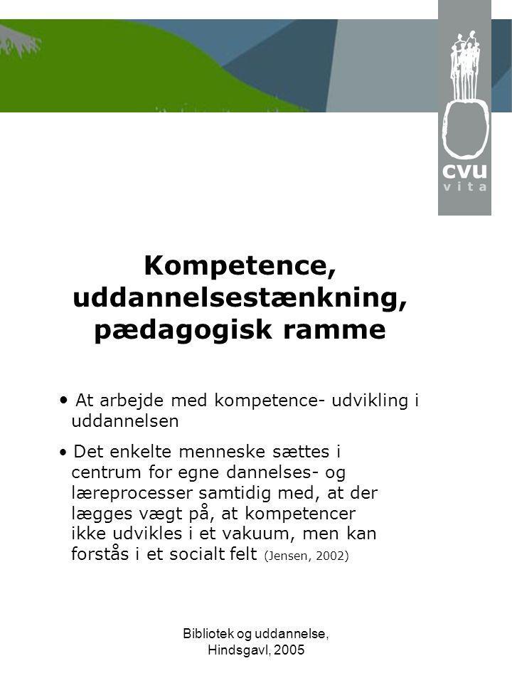 Bibliotek og uddannelse, Hindsgavl, 2005 Kompetence, uddannelsestænkning, pædagogisk ramme • At arbejde med kompetence-udvikling i uddannelsen • Det enkelte menneske sættes i centrum for egne dannelses- og læreprocesser samtidig med, at der lægges vægt på, at kompetencer ikke udvikles i et vakuum, men kan forstås i et socialt felt (Jensen, 2002)