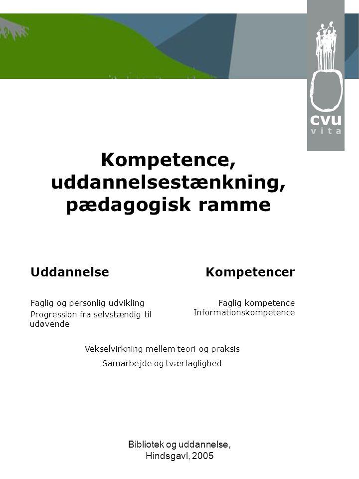 Bibliotek og uddannelse, Hindsgavl, 2005 Kompetence, uddannelsestænkning, pædagogisk ramme Uddannelse Faglig og personlig udvikling Progression fra selvstændig til udøvende Kompetencer Faglig kompetence Informationskompetence Vekselvirkning mellem teori og praksis Samarbejde og tværfaglighed