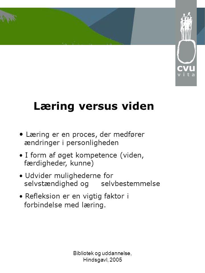 Bibliotek og uddannelse, Hindsgavl, 2005 Læring versus viden • Læring er en proces, der medfører ændringer i personligheden • I form af øget kompetence (viden, færdigheder, kunne) • Udvider mulighederne for selvstændighed og selvbestemmelse • Refleksion er en vigtig faktor i forbindelse med læring.