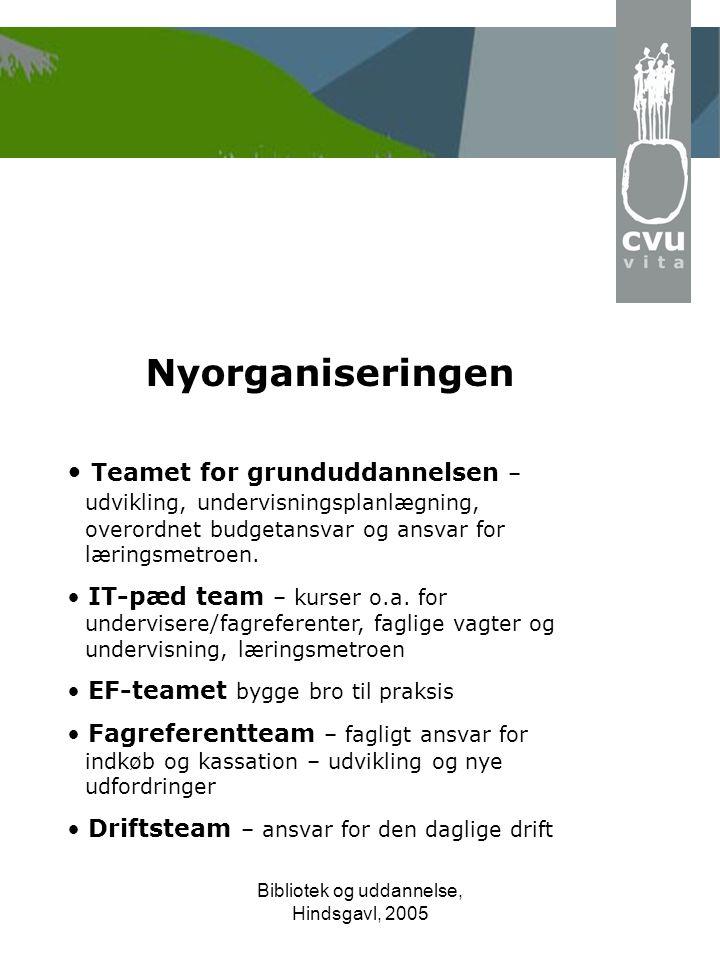 Bibliotek og uddannelse, Hindsgavl, 2005 Nyorganiseringen • Teamet for grunduddannelsen – udvikling, undervisningsplanlægning, overordnet budgetansvar og ansvar for læringsmetroen.