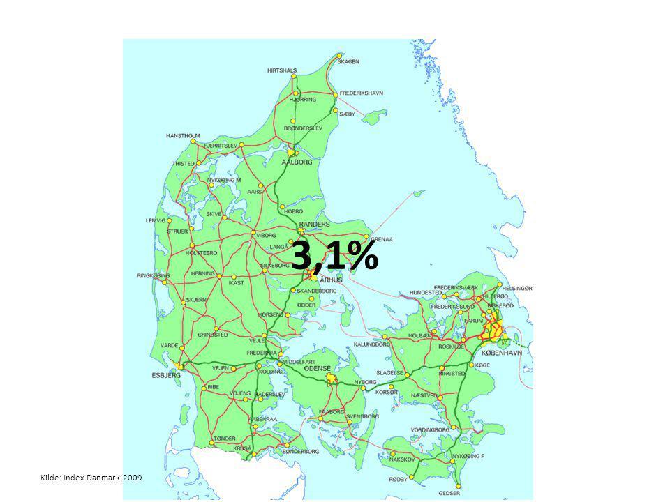3,1% Kilde: Index Danmark 2009