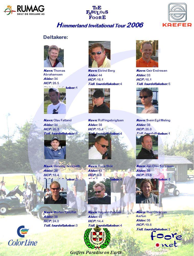 Deltakere: H immerland Invitational Tour 2006 Navn: Thomas Abrahamsen Alder: 34 HCP: 28.5 Tidl.