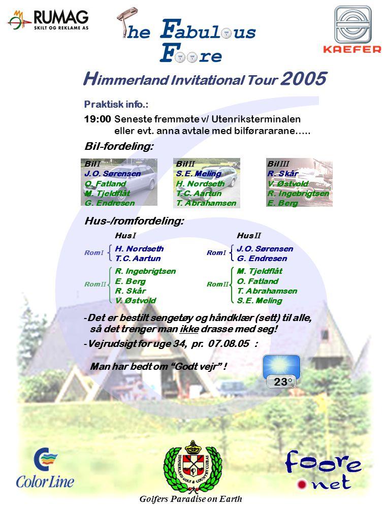 H immerland Invitational Tour 2005 Rom I Rom II Rom I Rom II Praktisk info.: 19:00Seneste fremmøte v/ Utenriksterminalen eller evt.