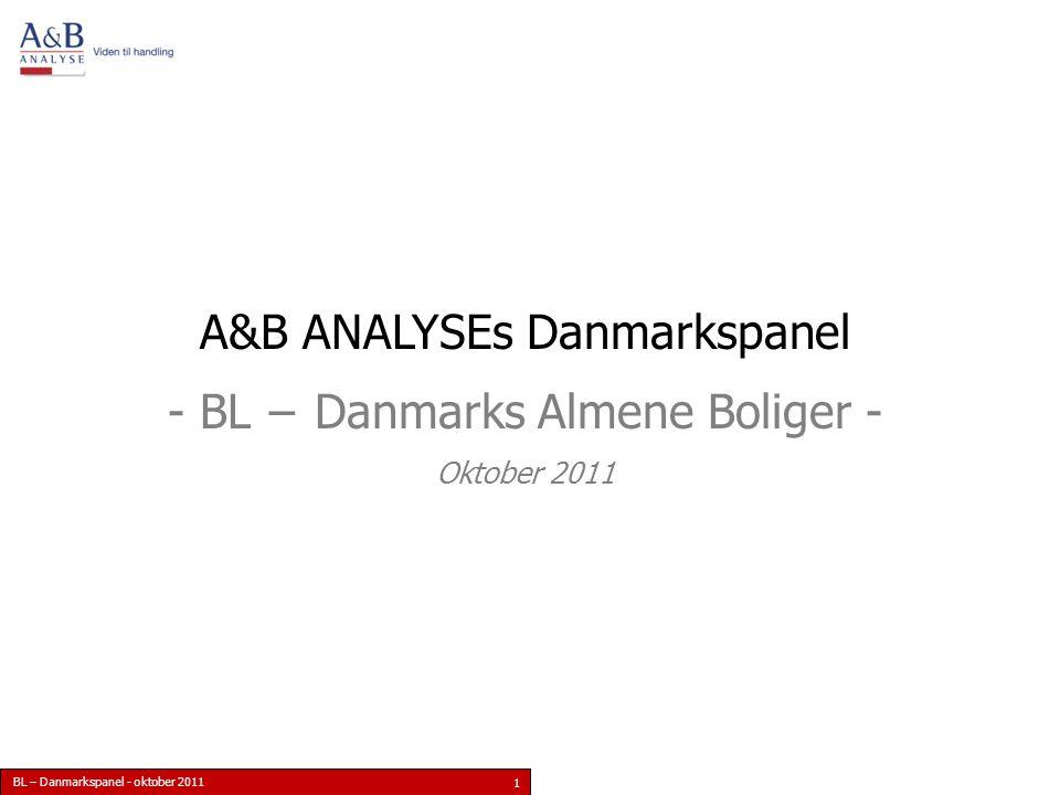 BL – Danmarkspanel - oktober 2011 1 A&B ANALYSEs Danmarkspanel - BL − Danmarks Almene Boliger - Oktober 2011