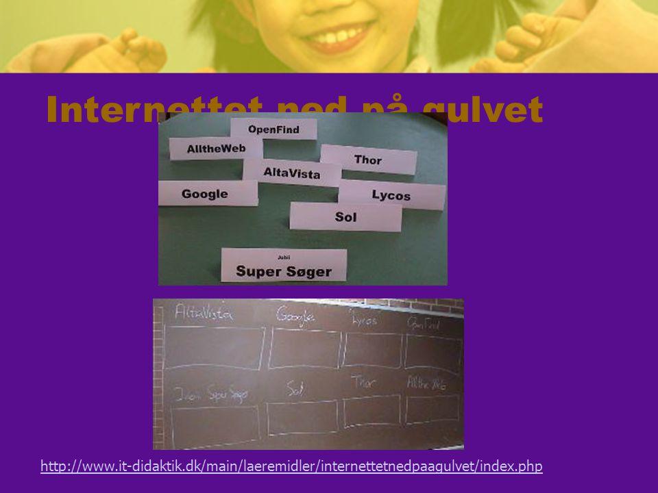 Internettet ned på gulvet http://www.it-didaktik.dk/main/laeremidler/internettetnedpaagulvet/index.php