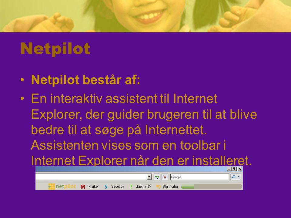 Netpilot Netpilot består af: En interaktiv assistent til Internet Explorer, der guider brugeren til at blive bedre til at søge på Internettet.