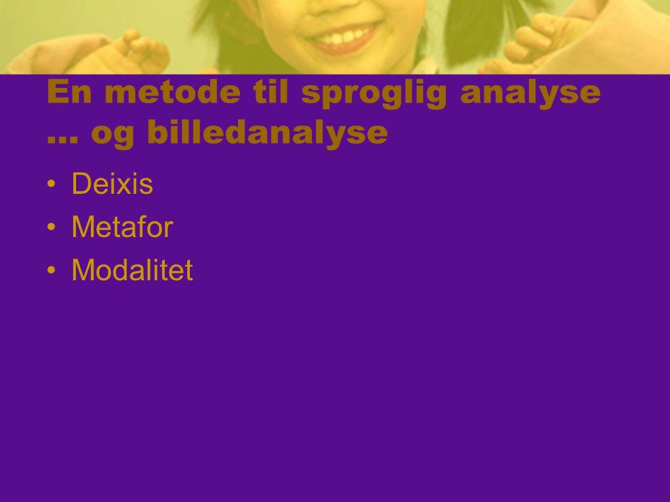 En metode til sproglig analyse … og billedanalyse Deixis Metafor Modalitet