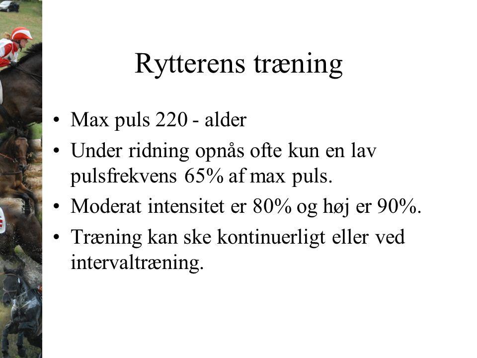 Rytterens træning Max puls 220 - alder Under ridning opnås ofte kun en lav pulsfrekvens 65% af max puls. Moderat intensitet er 80% og høj er 90%. Træn