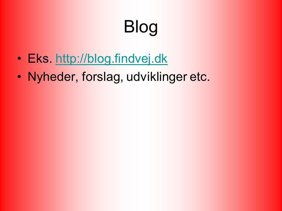 Blog Eks. http://blog.findvej.dkhttp://blog.findvej.dk Nyheder, forslag, udviklinger etc.
