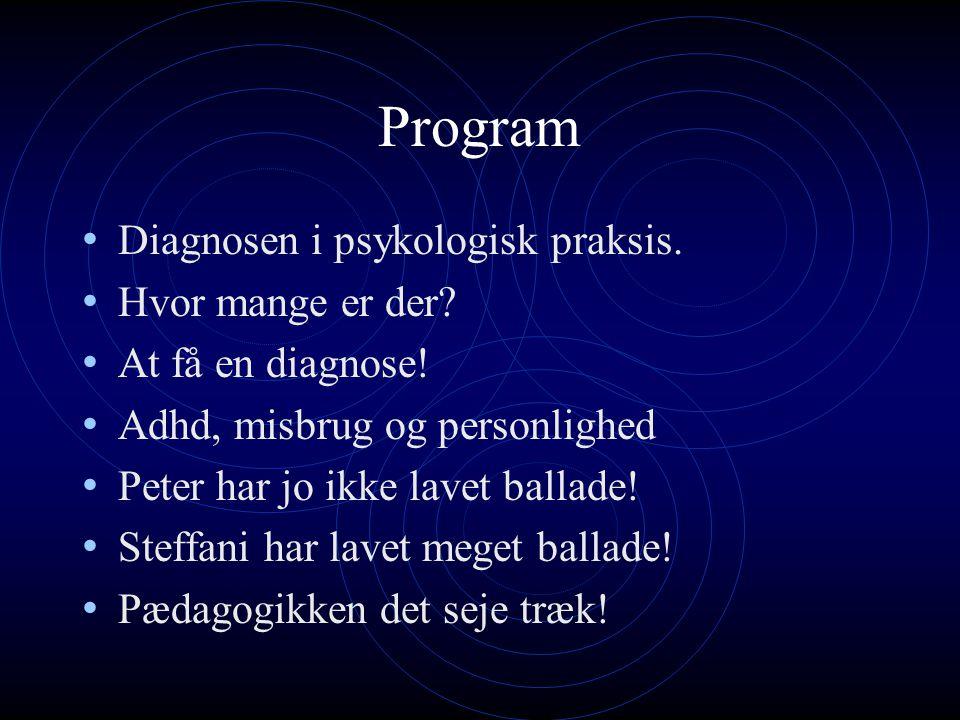 Program Diagnosen i psykologisk praksis. Hvor mange er der.
