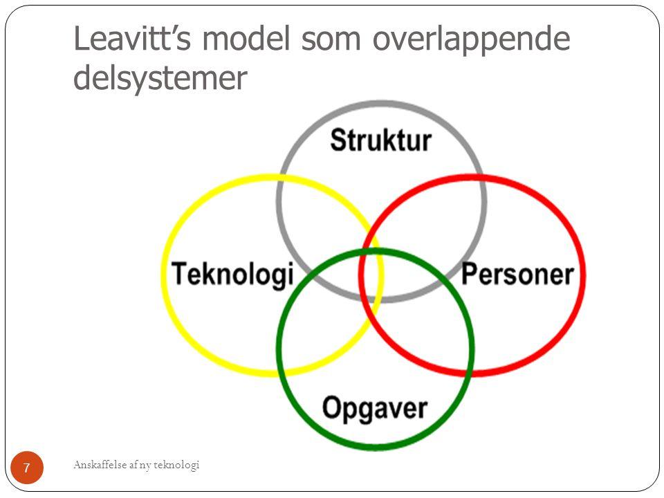 Analyse-fasen (2) Unøjagtigheder og fejl rettes Den mere detaljerede plan formuleres mere konkret Alle 4 del-områder fra Leavitt's model inddrages og analyseres Anskaffelse af ny teknologi 18