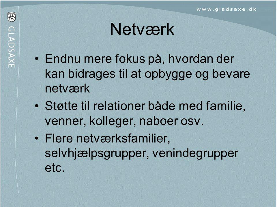 Netværk •Endnu mere fokus på, hvordan der kan bidrages til at opbygge og bevare netværk •Støtte til relationer både med familie, venner, kolleger, nab
