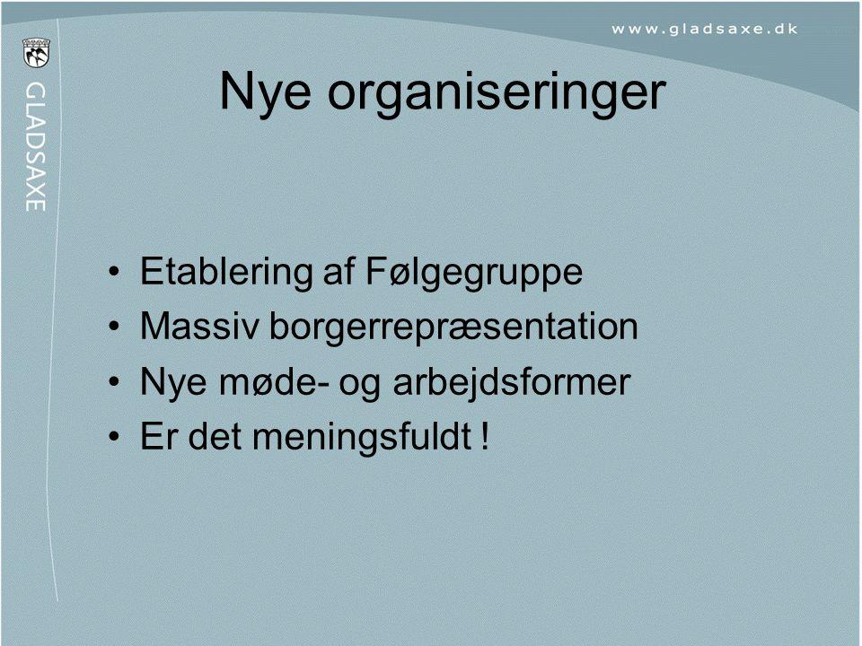 •Etablering af Følgegruppe •Massiv borgerrepræsentation •Nye møde- og arbejdsformer •Er det meningsfuldt ! Nye organiseringer