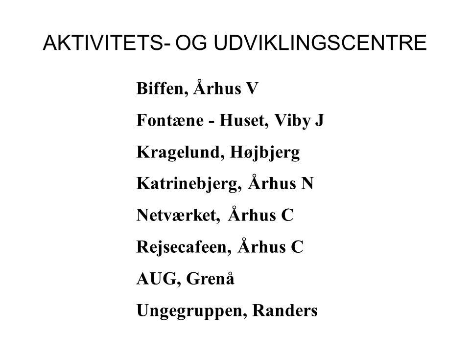 AKTIVITETS- OG UDVIKLINGSCENTRE Biffen, Århus V Fontæne - Huset, Viby J Kragelund, Højbjerg Katrinebjerg, Århus N Netværket, Århus C Rejsecafeen, Århus C AUG, Grenå Ungegruppen, Randers