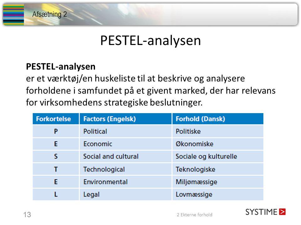 PESTEL-analysen er et værktøj/en huskeliste til at beskrive og analysere forholdene i samfundet på et givent marked, der har relevans for virksomhedens strategiske beslutninger.