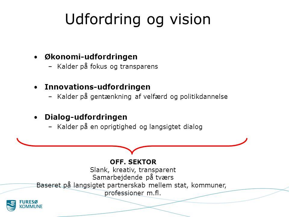 Udfordring og vision •Økonomi-udfordringen –Kalder på fokus og transparens •Innovations-udfordringen –Kalder på gentænkning af velfærd og politikdannelse •Dialog-udfordringen –Kalder på en oprigtighed og langsigtet dialog OFF.