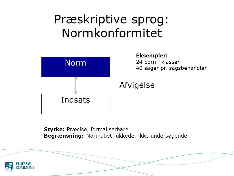 Præskriptive sprog: Normkonformitet Norm Indsats Afvigelse Eksempler: 24 børn i klassen 40 sager pr.