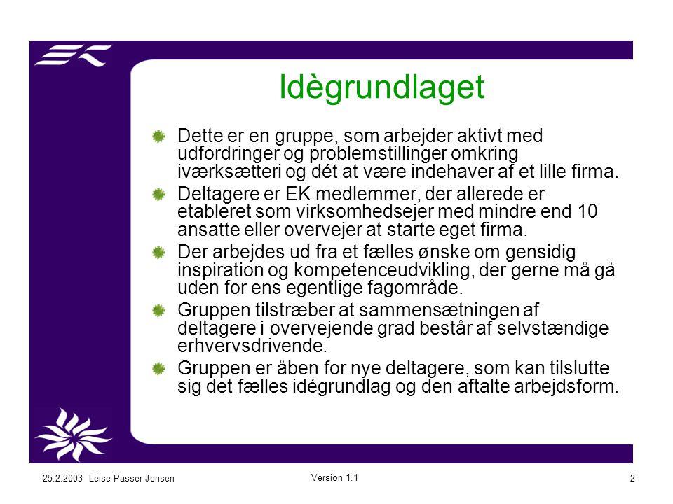 25.2.2003 Leise Passer Jensen Version 1.1 2 Dette er en gruppe, som arbejder aktivt med udfordringer og problemstillinger omkring iværksætteri og dét at være indehaver af et lille firma.