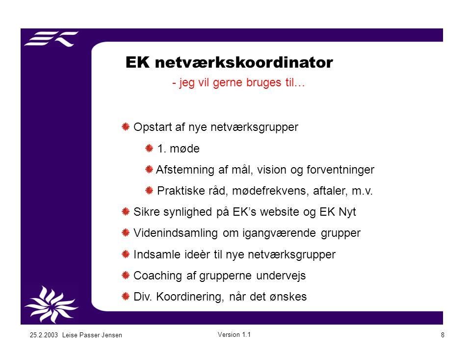 25.2.2003 Leise Passer Jensen Version 1.1 8 EK netværkskoordinator - jeg vil gerne bruges til… Opstart af nye netværksgrupper 1.