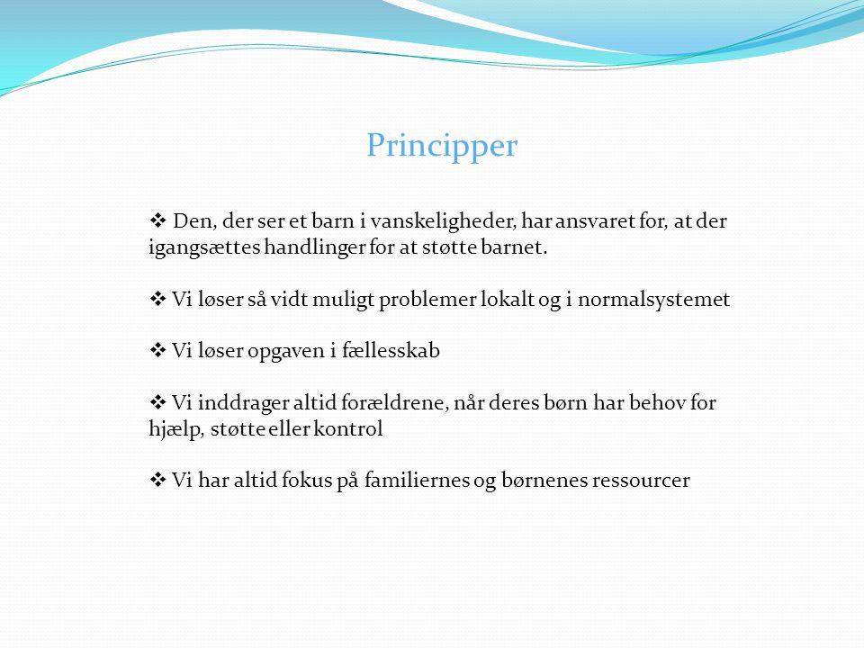 Principper  Den, der ser et barn i vanskeligheder, har ansvaret for, at der igangsættes handlinger for at støtte barnet.