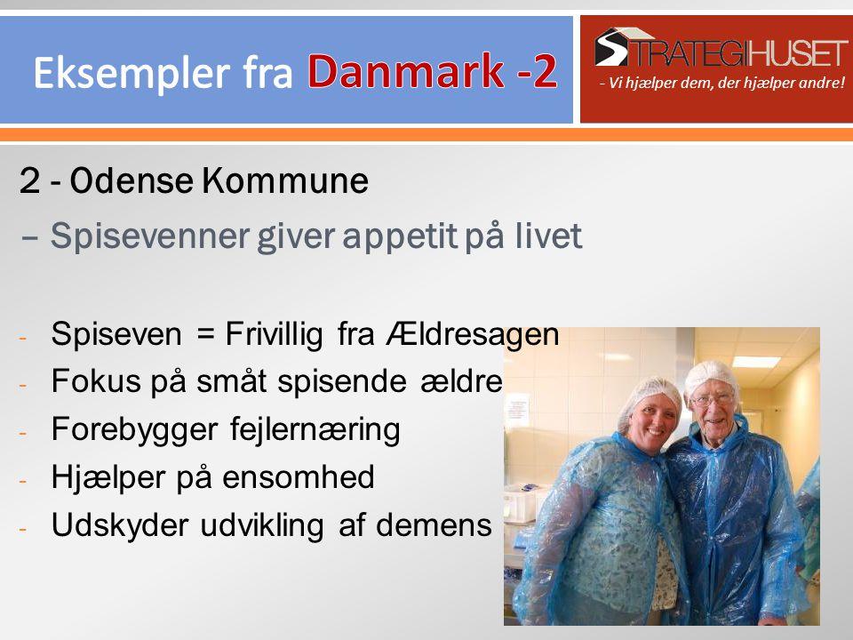 2 - Odense Kommune – Spisevenner giver appetit på livet - Spiseven = Frivillig fra Ældresagen - Fokus på småt spisende ældre - Forebygger fejlernæring - Hjælper på ensomhed - Udskyder udvikling af demens - Vi hjælper dem, der hjælper andre!