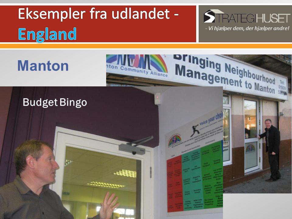- Vi hjælper dem, der hjælper andre! Manton Budget Bingo