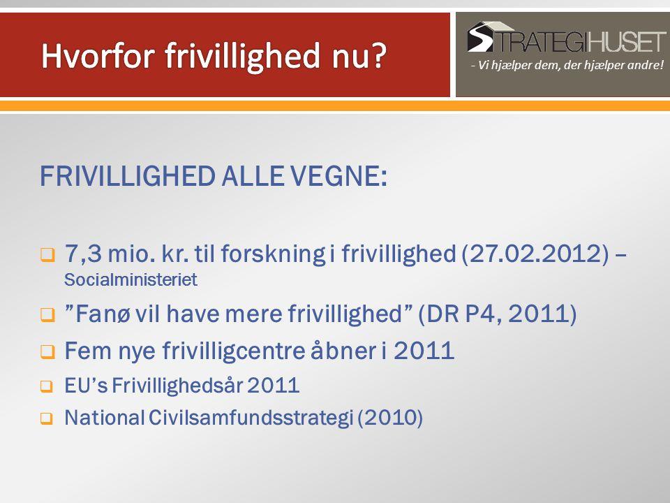 FRIVILLIGHED ALLE VEGNE:  7,3 mio. kr.