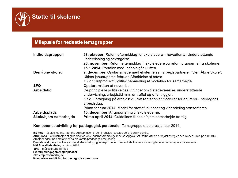 Støtte til skolerne Milepæle for nedsatte temagrupper Indholdsgruppen28.