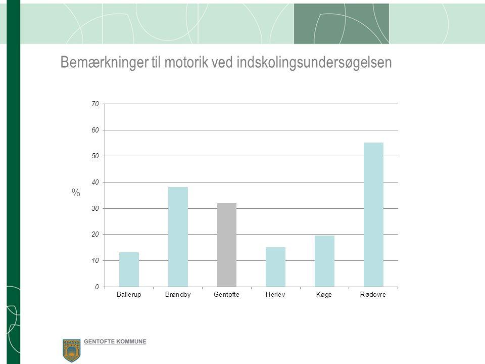Bemærkninger til motorik ved indskolingsundersøgelsen %