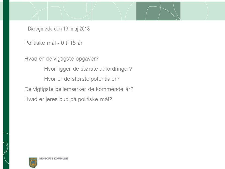 Dialogmøde den 13. maj 2013 Politiske mål - 0 til18 år Hvad er de vigtigste opgaver.