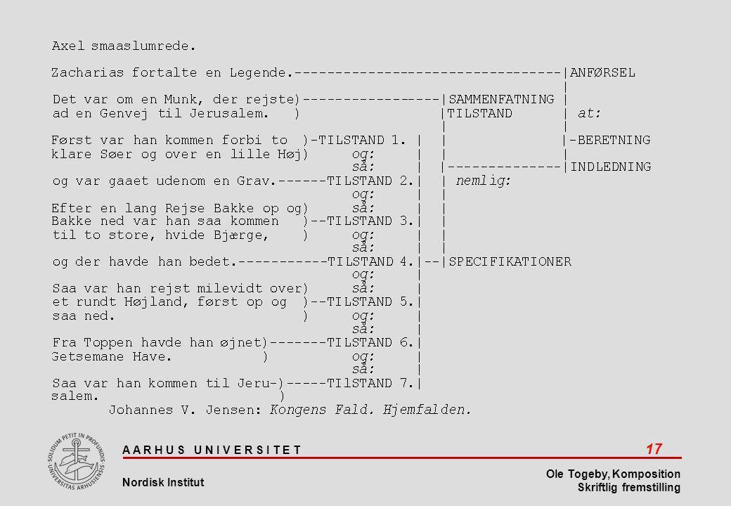 A A R H U S U N I V E R S I T E T 17 Nordisk Institut Ole Togeby, Komposition Skriftlig fremstilling