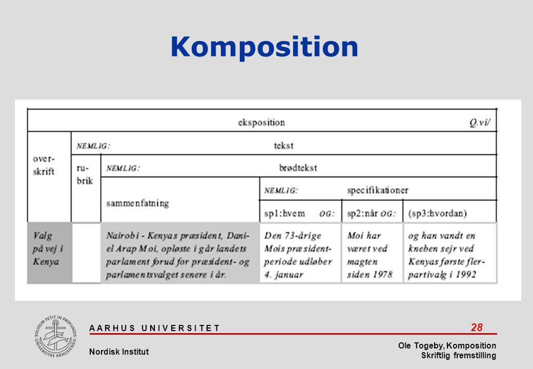 A A R H U S U N I V E R S I T E T 28 Nordisk Institut Ole Togeby, Komposition Skriftlig fremstilling Komposition