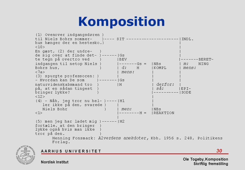 A A R H U S U N I V E R S I T E T 30 Nordisk Institut Ole Togeby, Komposition Skriftlig fremstilling Komposition