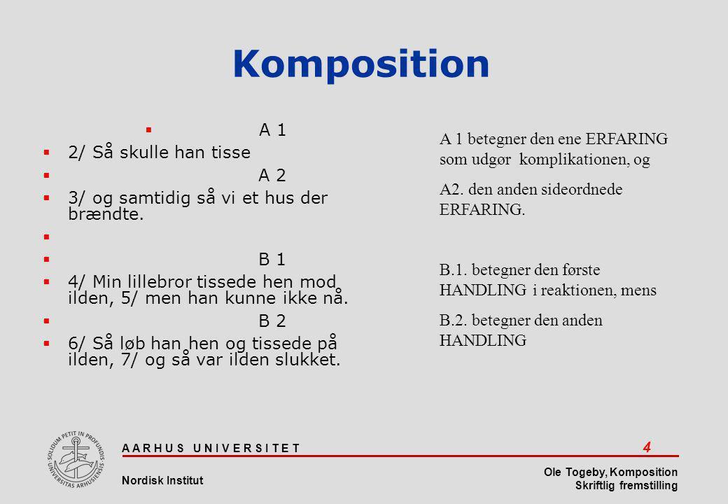 A A R H U S U N I V E R S I T E T 15 Nordisk Institut Ole Togeby, Komposition Skriftlig fremstilling Komposition  Tolkningen skal være udtømmende.