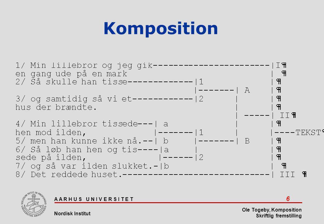 A A R H U S U N I V E R S I T E T 6 Nordisk Institut Ole Togeby, Komposition Skriftlig fremstilling Komposition
