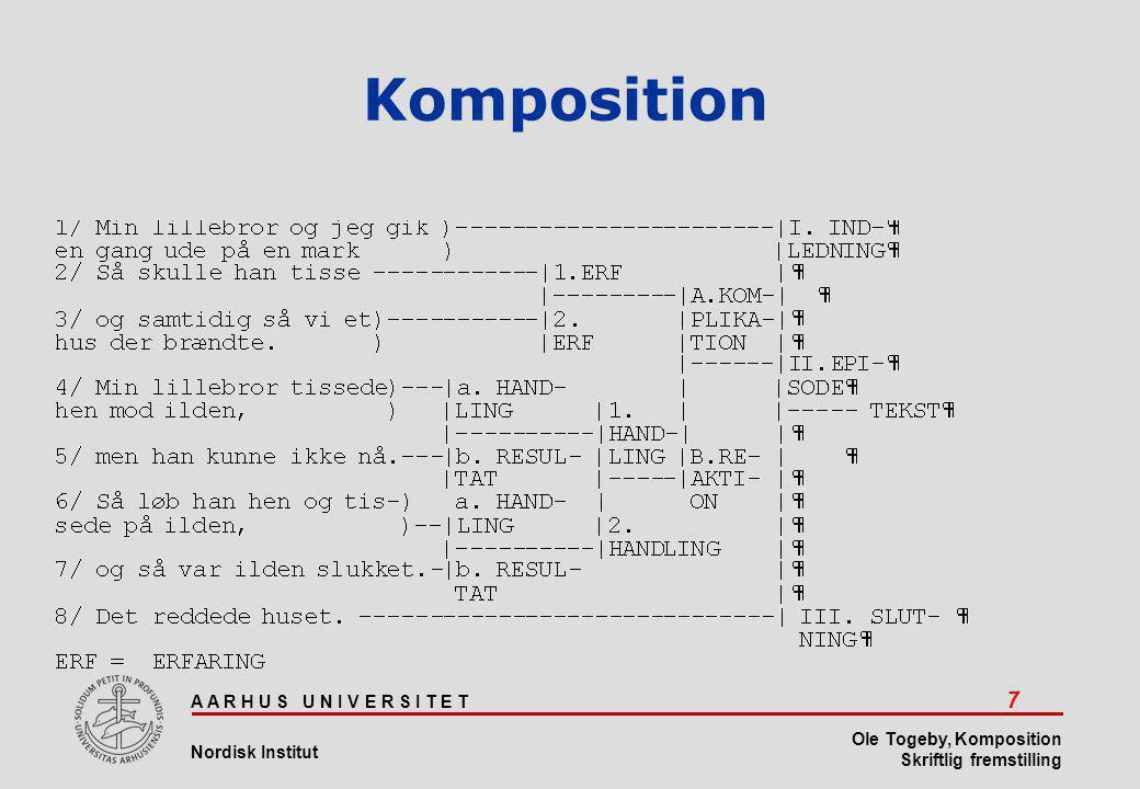 A A R H U S U N I V E R S I T E T 7 Nordisk Institut Ole Togeby, Komposition Skriftlig fremstilling Komposition