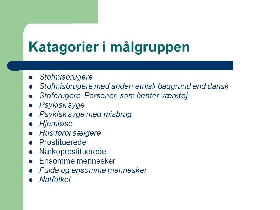 Katagorier i målgruppen  Stofmisbrugere  Stofmisbrugere med anden etnisk baggrund end dansk  Stofbrugere.
