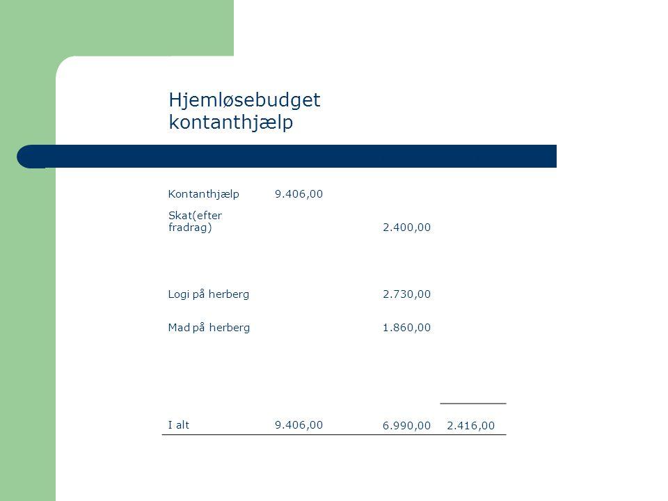 Hjemløsebudget kontanthjælp IndtægterUdgifterOverskud Kontanthjælp 9.406,00 Skat(efter fradrag) 2.400,00 Logi på herberg 2.730,00 Mad på herberg 1.860,00 I alt 9.406,00 6.990,00 2.416,00