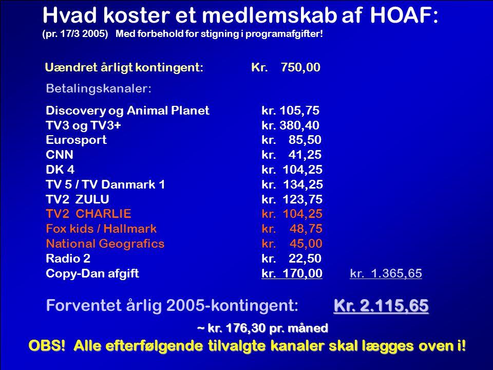 Hvad koster et medlemskab af HOAF: (pr. 17/3 2005) Med forbehold for stigning i programafgifter.