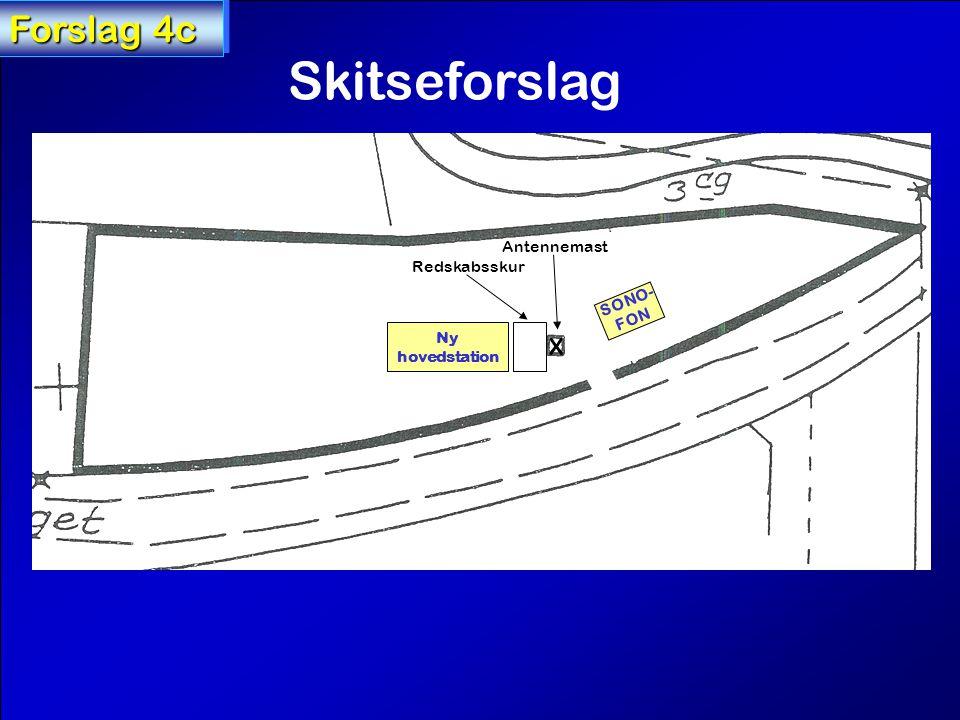 X Antennemast Forslag 4c SONO- FON Ny hovedstation Skitseforslag Redskabsskur