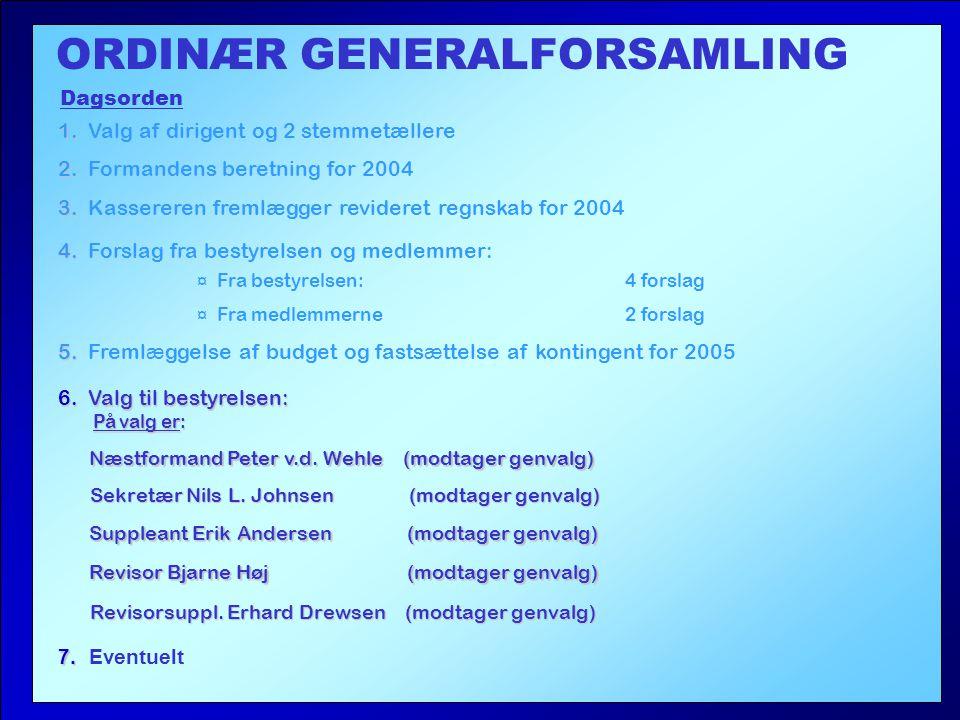4. 4. Forslag fra bestyrelsen og medlemmer: ORDINÆR GENERALFORSAMLING Dagsorden 1.