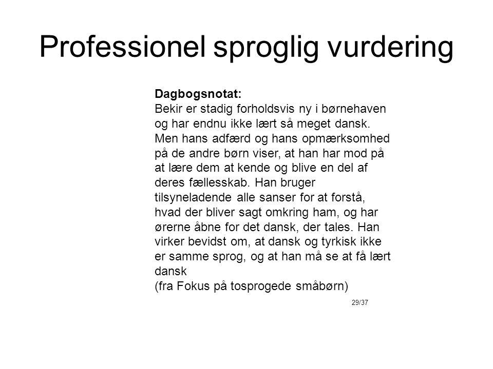 Professionel sproglig vurdering Dagbogsnotat: Bekir er stadig forholdsvis ny i børnehaven og har endnu ikke lært så meget dansk.