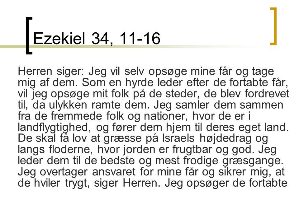 Ezekiel 34, 11-16 Herren siger: Jeg vil selv opsøge mine får og tage mig af dem.